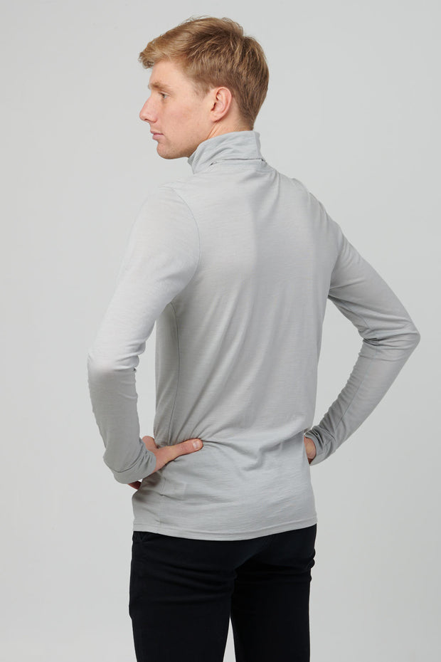 Mens Merino Wool Turtleneck, Limestone