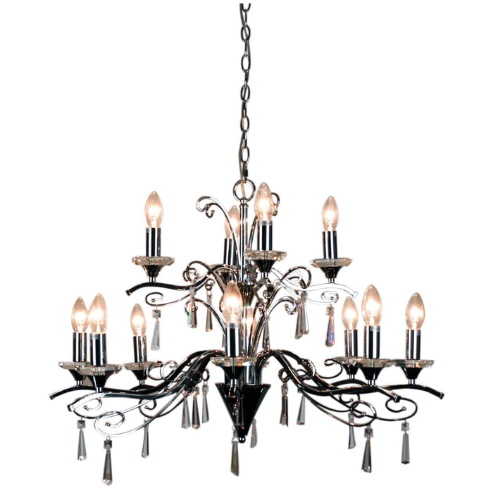 Diaz 12 bulb Modern Chrome and Crystal Chandelier - GUS LIVING LIFE CHANDELIERS AND LIGHTING