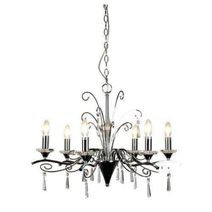 Diaz 6 bulb Modern Chrome and Crystal Chandelier - GUS LIVING LIFE CHANDELIERS AND LIGHTING