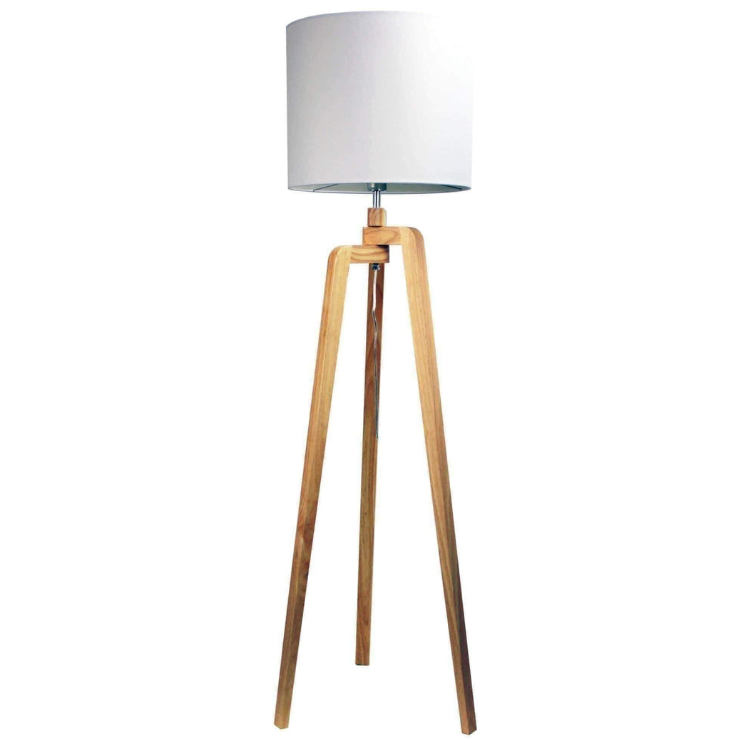 LUND FLOOR LAMP  Scandi Inspired Timber Tripod Lamp with Shade - GUS LIVING LIFE CHANDELIERS AND LIGHTING
