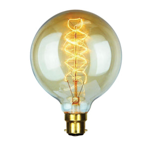 VINTAGE G125 SPIRAL B22  25w B22 Spiral Filament 12.5cm - GUS LIVING LIFE CHANDELIERS AND LIGHTING