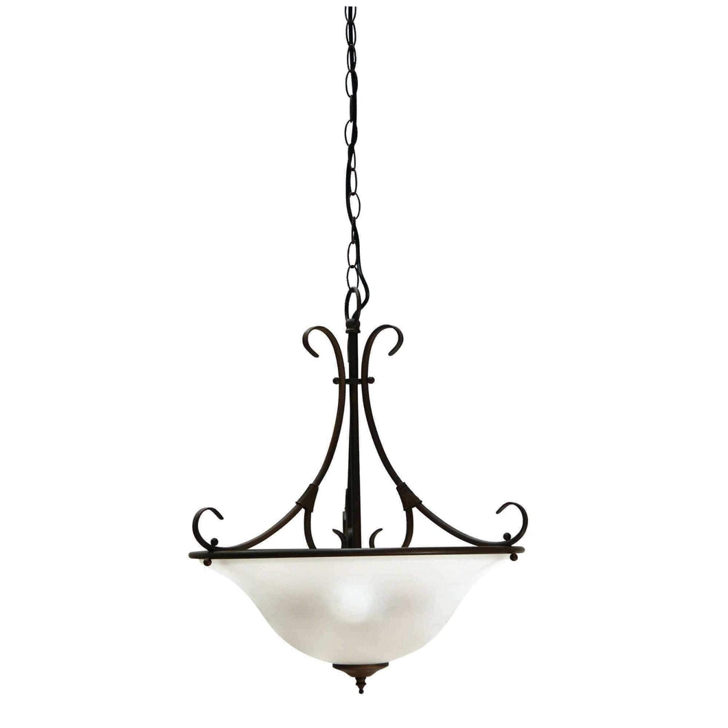 Gaston 3LT  Bronze Traditional Frosted pendant light - GUS LIVING LIFE CHANDELIERS AND LIGHTING