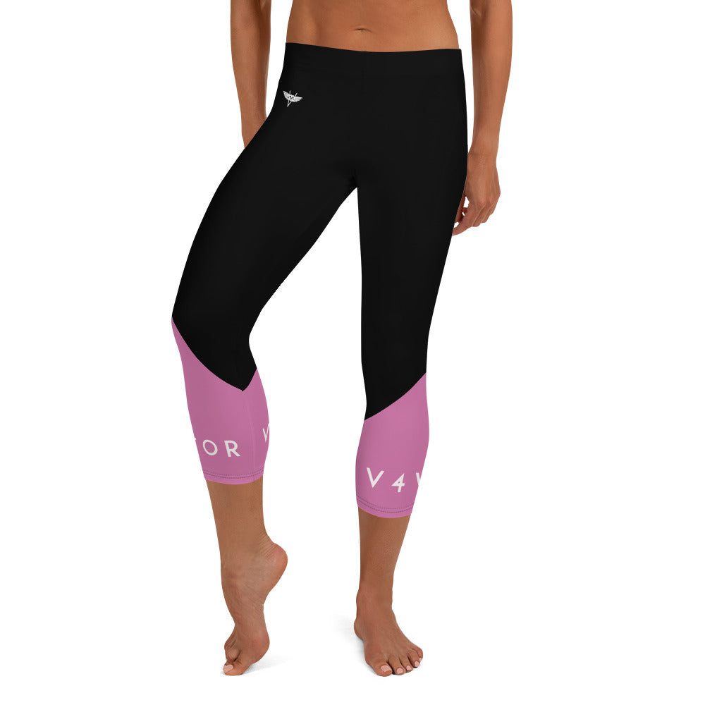 Capri Leggings - Black Pink