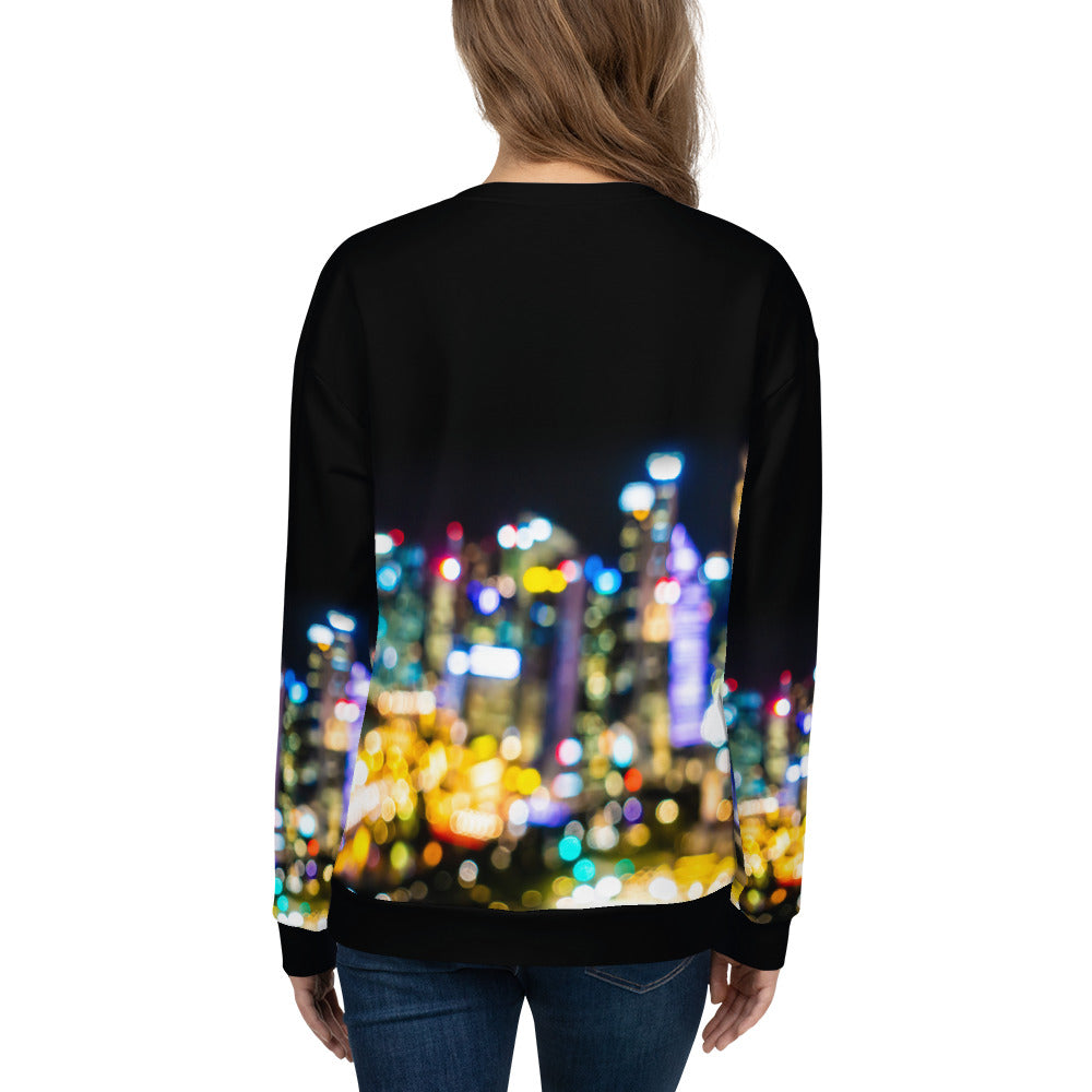 Loose-fit Sweatshirt for Women- City Pixel Print