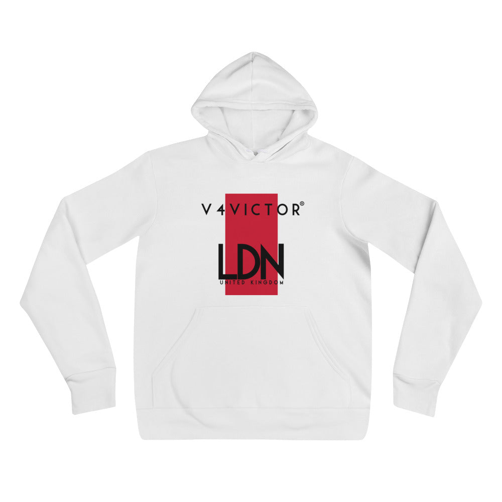 Bella + Canvas V4Victor Hoodie - London Print - White