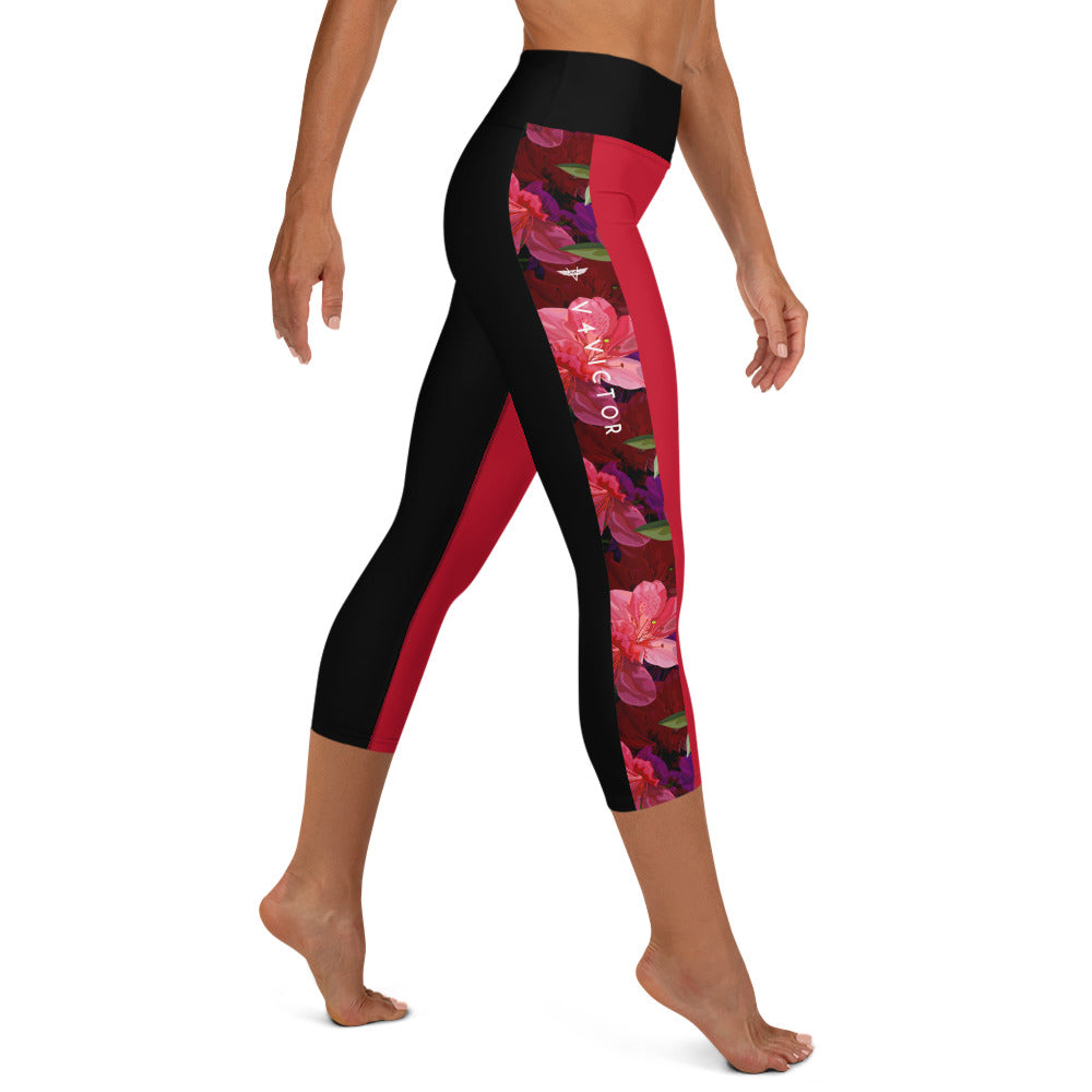 Yoga Capri Leggings with pocket - Floral