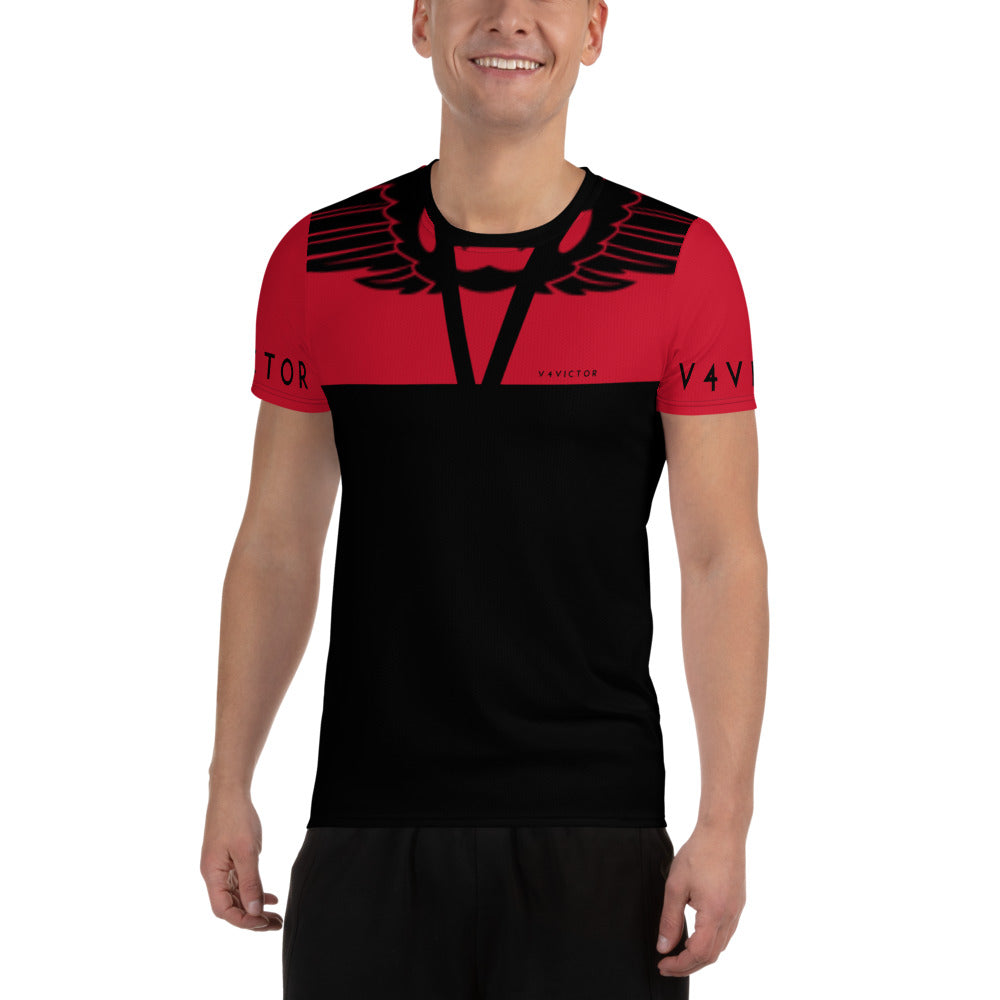 Anti-microbial Men's Athletic T-shirt in V4Victor Logo Black