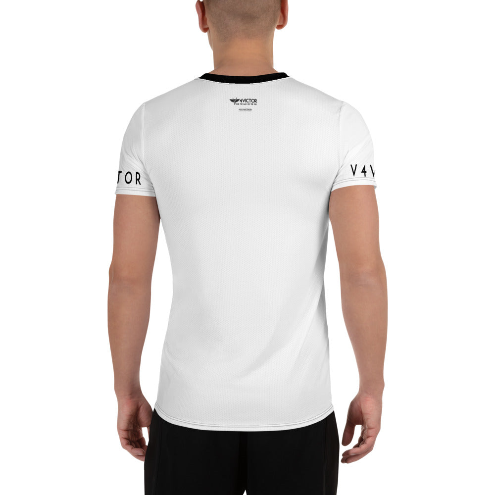 Anti-microbial Men's Athletic T-shirt in V4Victor Logo White