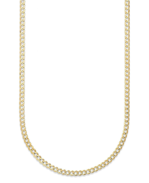 18K Solid Yellow Gold 3.5MM Cuban Curb Link Chain Necklace