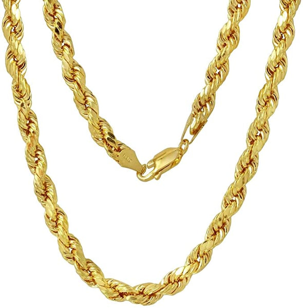 10K Gold 5.0MM Diamond Cut Rope Chain Necklace