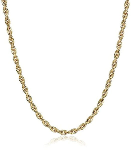 10K Gold 3.0MM Diamond Cut Rope Chain Necklace