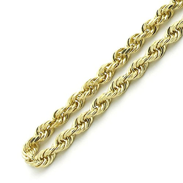 10K Gold 4.0MM Diamond Cut Rope Chain Necklace