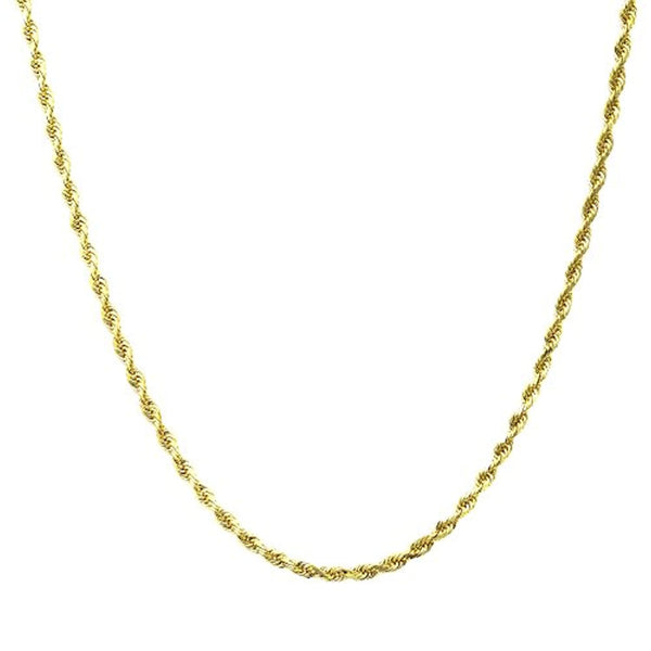 14K Yellow Gold 1.5MM Diamond Cut Rope Chain Necklace- Lobster Lock Closure