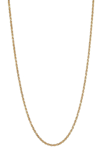 14K Gold 1.5MM Diamond Cut Rope Chain Necklace