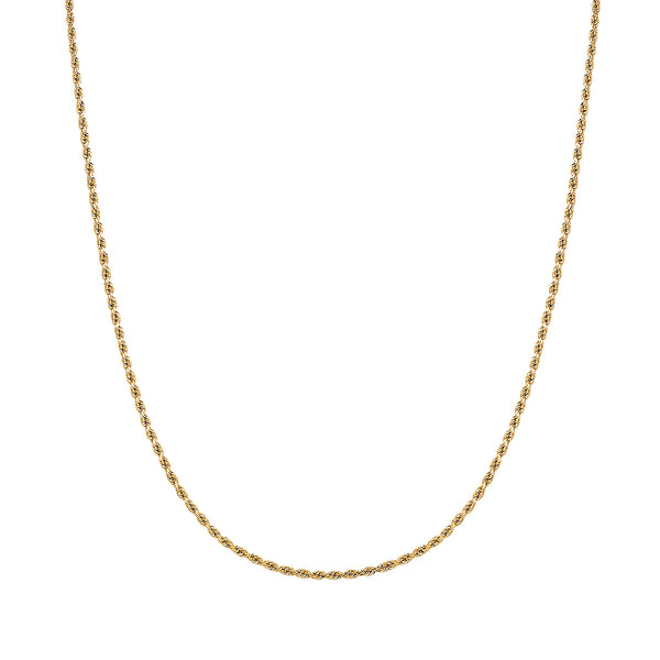 14K Gold 2.5MM Thick Diamond Cut Rope Chain Necklace