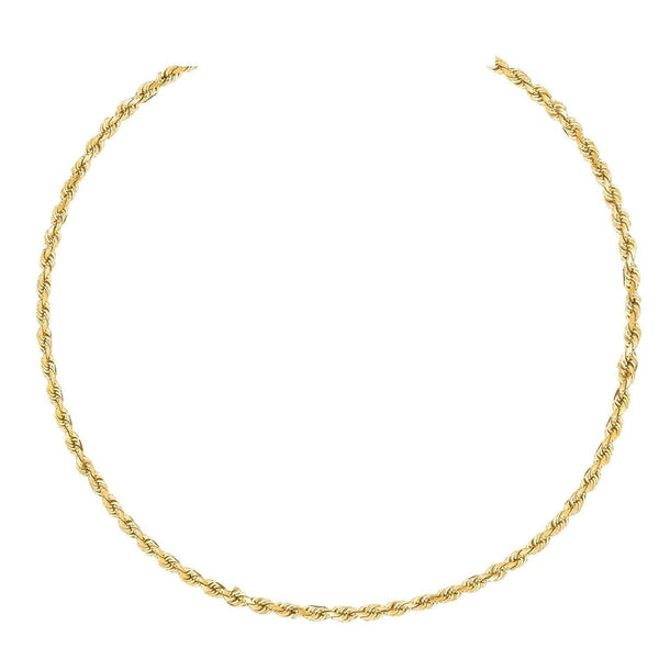 10K Gold 1.8MM Diamond Cut Rope Chain Necklace