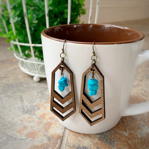 Geo Wood + Turquoise Earrings