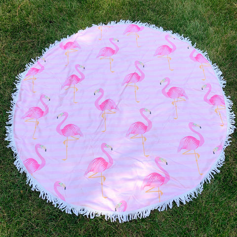 Round Beach Towel - Fancy Flamingo
