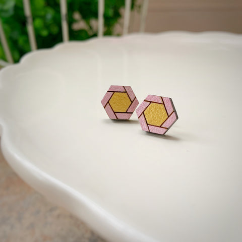 Tiny Hex Earrings: Pink & Gold