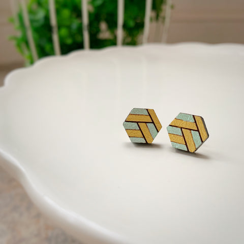 Tiny Hex Earrings: Mint & Gold
