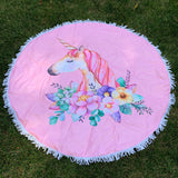 Round Beach Towel - Floral Unicorn
