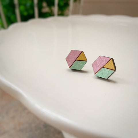 Capitola Earring, Pink, Mint & Gold