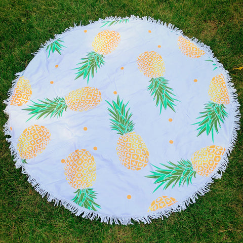 Round Beach Towel - Tossed Pineapples