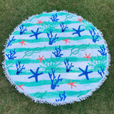 Round Beach Towel - Sea Life Stripe