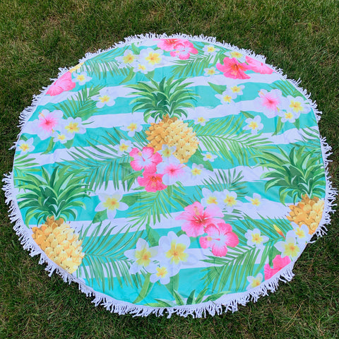 Round Beach Towel - Tropical Stripe