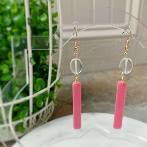 Bar & Bead Earring in Pink