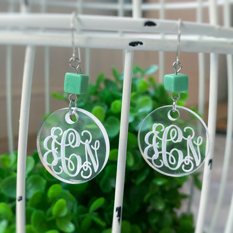Daphne Earring, clear & green