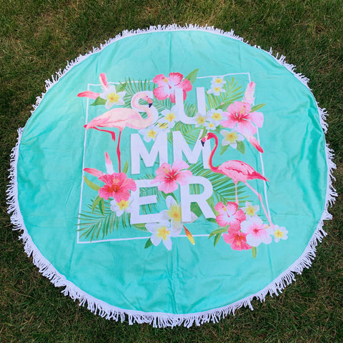 Round Beach Towel - Flamingo Summer