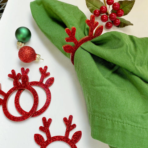 Reindeer Napkin Rings - Red Glitter