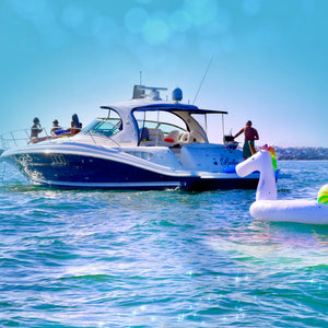 Ocean Swim Party Stand Up Paddleboard SUP Anchor Out Birthday Party friends family Holiday gift idea realestate Marina Del Rey Things to do in Los Angeles Boat Yacht Charter play