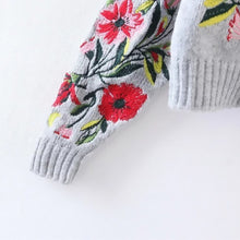Load image into Gallery viewer, Women's Round Neck Long Sleeve Flower Embroidered Knitting Sweater