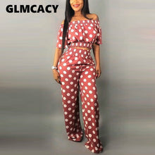Load image into Gallery viewer, Women's 2 Pieces Polka Dot Printed Off Shoulder Crop Top and High Waist Long Pants