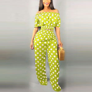 Women's 2 Pieces Polka Dot Printed Off Shoulder Crop Top and High Waist Long Pants