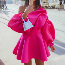 Load image into Gallery viewer, Women's Mini Pleated Puff Sleeve One Shoulder Spaghetti Strap Dress