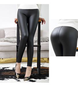 Women's High Waist Leather Leggings