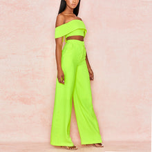 Load image into Gallery viewer, Women's Two-Piece Strapless Backless Short Crop Top & High Waist Wide Leg Pant Set