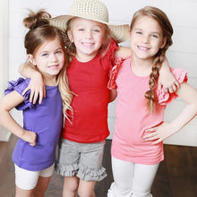 Load image into Gallery viewer, Girl's Short Sleeve Ruffle T-Shirt 0-4T