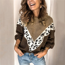 Load image into Gallery viewer, Women's Leopard Print Long sleeve Knitted Sweater