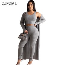 Load image into Gallery viewer, Women's 3 Piece Matching Set Tank Crop Top+Pencil Pant+Maxi Cardigan