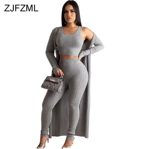 Women's 3 Piece Matching Set Tank Crop Top+Pencil Pant+Maxi Cardigan