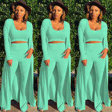 Load image into Gallery viewer, Women's Long Sleeve Cardigan Coat Wide Leg Pants and Crop Top 3 piece Set
