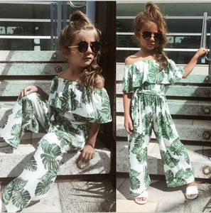 Girl's Green Leaf Printed Romper