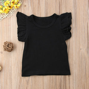 Girl's Short Sleeve Ruffle T-Shirt 0-4T