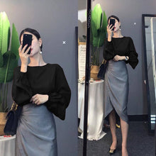 Load image into Gallery viewer, Women's Loose Long Lantern Sleeve Blouse and Ruffles Irregular Cut Skirt Set