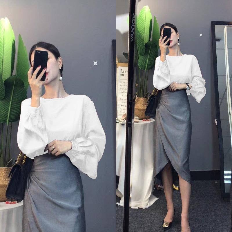 Women's Loose Long Lantern Sleeve Blouse and Ruffles Irregular Cut Skirt Set