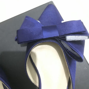 Women's Silk Satin Pointed Bow Tie Flat Backless Shoes